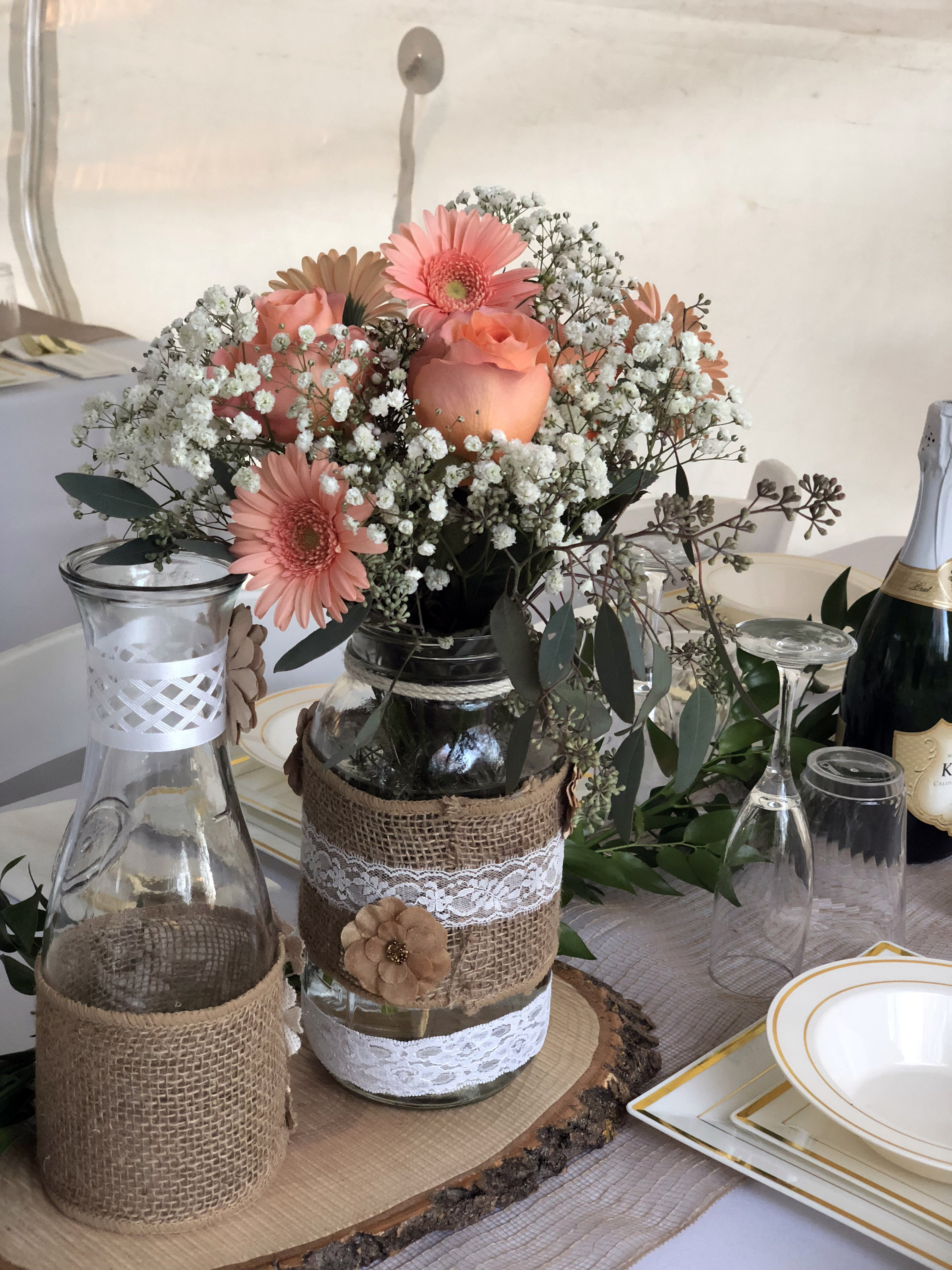 maple grove private home wedding reception centerpieces flowers mason jars