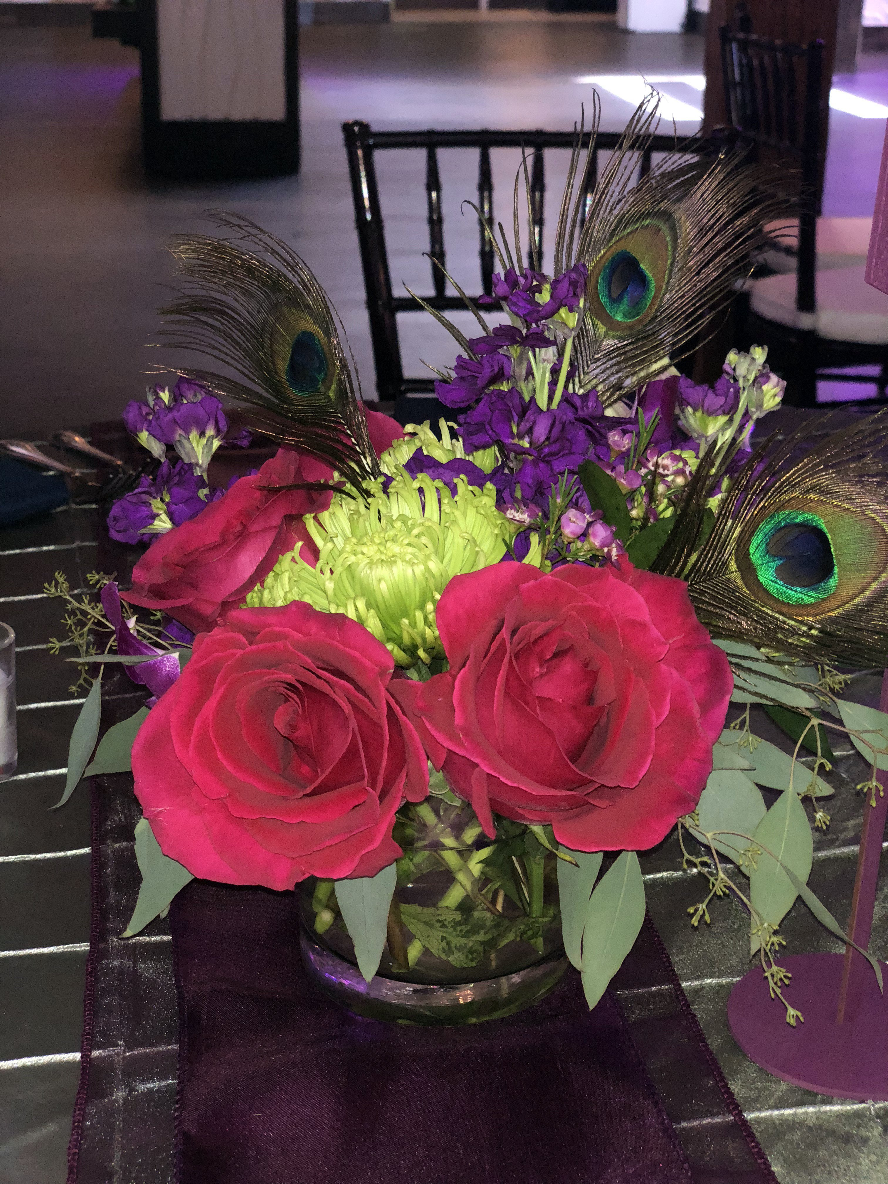 minneapolis event center reception flowers and feathers